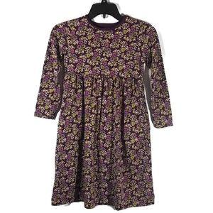 Lands' End Purple Floral Long Sleeve Dress